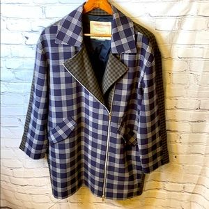 Anthropologie Cartonnier Houndstooth Plaid Coat